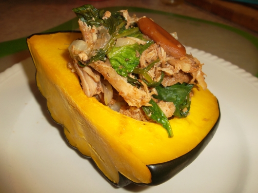 Stuffed Acorn Squash with Slow cooker pulled pork